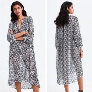 Zara Sheer Zebra Print Long Oversize Blouse Top